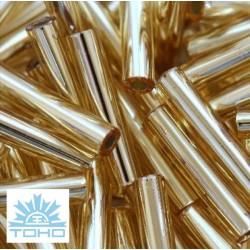 TOHO rokajl (Bugle 9mm) Silver-lined lt topaz