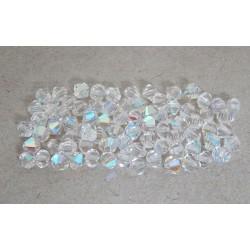 Brúsené korálky- slniečka, krystal s AB pokovom, 5mm/10ks
