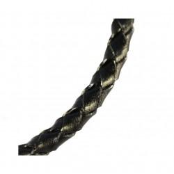 Kožený remienok pletený, čierny 4 mm /0,2m