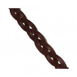 Kožený pletený remienok, hnedý 5,5mm/0,2m