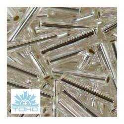 TOHO rokajl (Bugle 9mm) Silver-lined  crystal