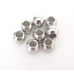 Korálky - kovový vzhľad, 8 mm - veľký otvor