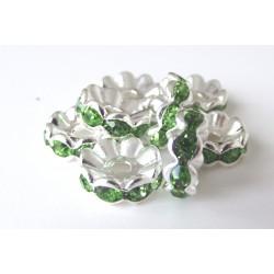 Kovová rondelka Zircons emerald