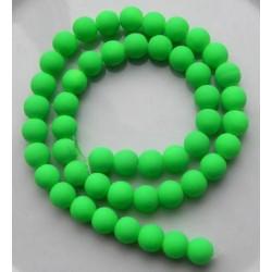 Sklenená korálka - neón, zelená /5ks
