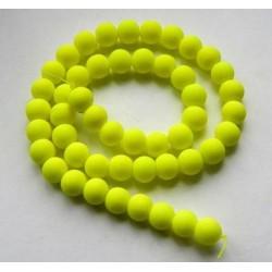 Sklenená korálka - neón, žltá /5ks