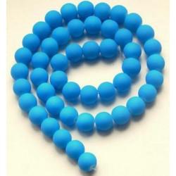 Sklenená korálka - neón, modrá /5ks