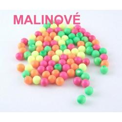 Sklenené korálky - neón, MALINOVÉ /10ks