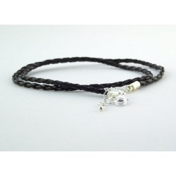 Kožený náhrdelník čierny pletený
