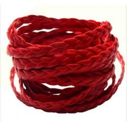 Červený PU kožený kord pletený 5x2mm /1m