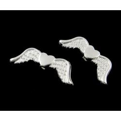 Krídielka so srdiečkom, postriebrené