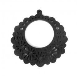 Drevený kruh, čierny /2ks
