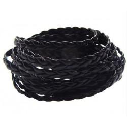 Čierny PU kožený kord pletený 5x2mm /0,5m